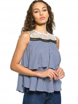 UMM Lace Yoke Stripe Sleeveless Blouse