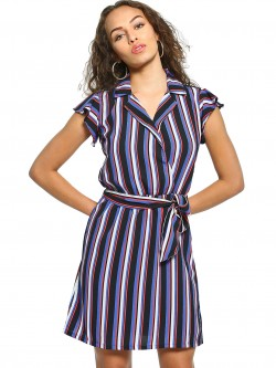 UMM Multi-Stripe Collared Shift Dress