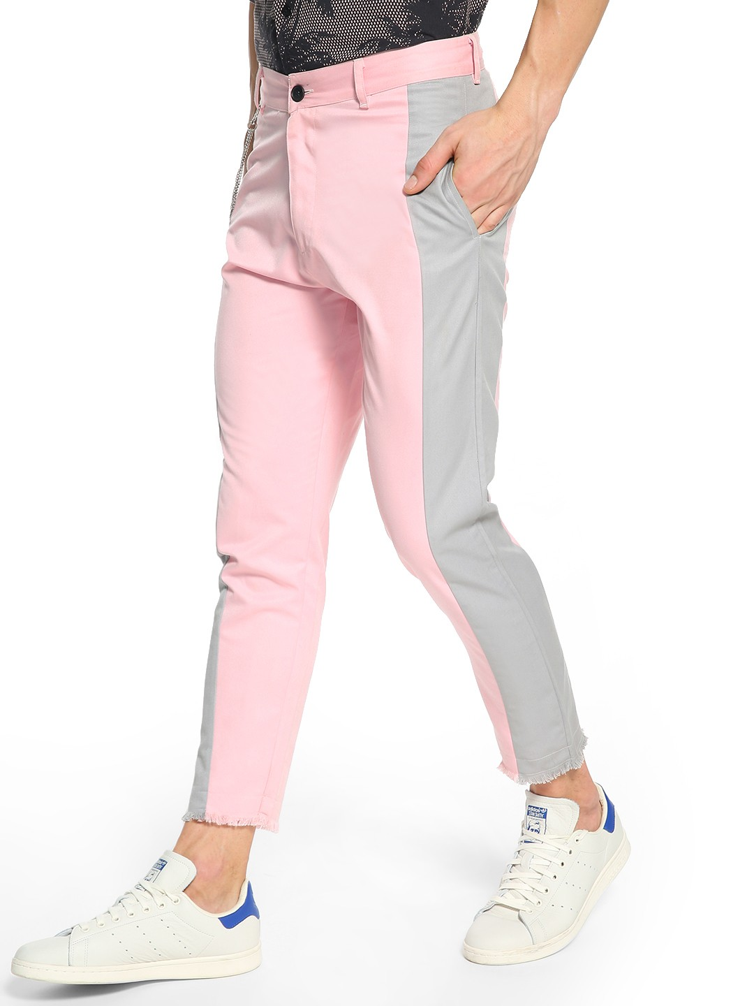 KOOVS Multi Contrast Side Panel Cropped Chinos 1