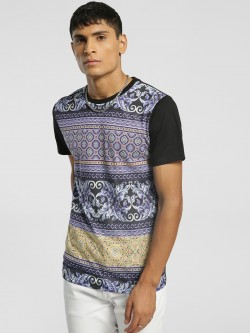 KOOVS Baroque Print Muscle Fit T-Shirt