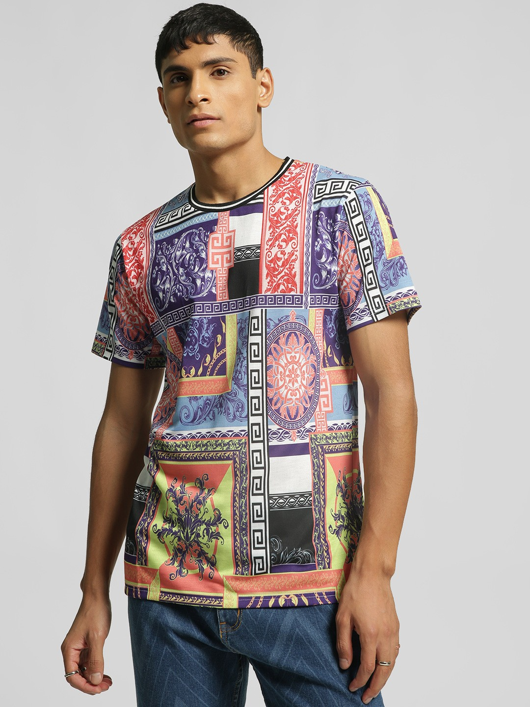 KOOVS Multi Spliced Baroque Print T-Shirt 1