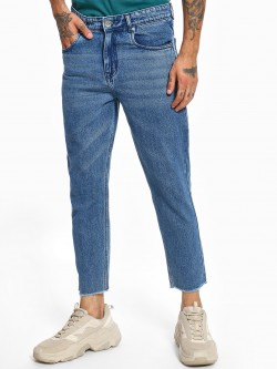 K Denim KOOVS Light Wash Cropped Straight Jeans