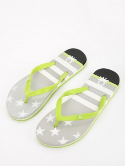 United Colors of Benetton Star Stripe Print Logo Flip Flops