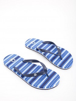 United Colors of Benetton Stripe Print Logo Flip Flops