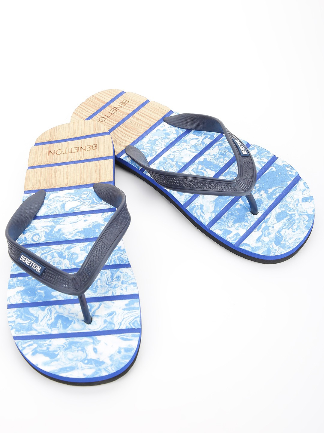 United Colors of Benetton Blue Stripe Print Flip Flops 1