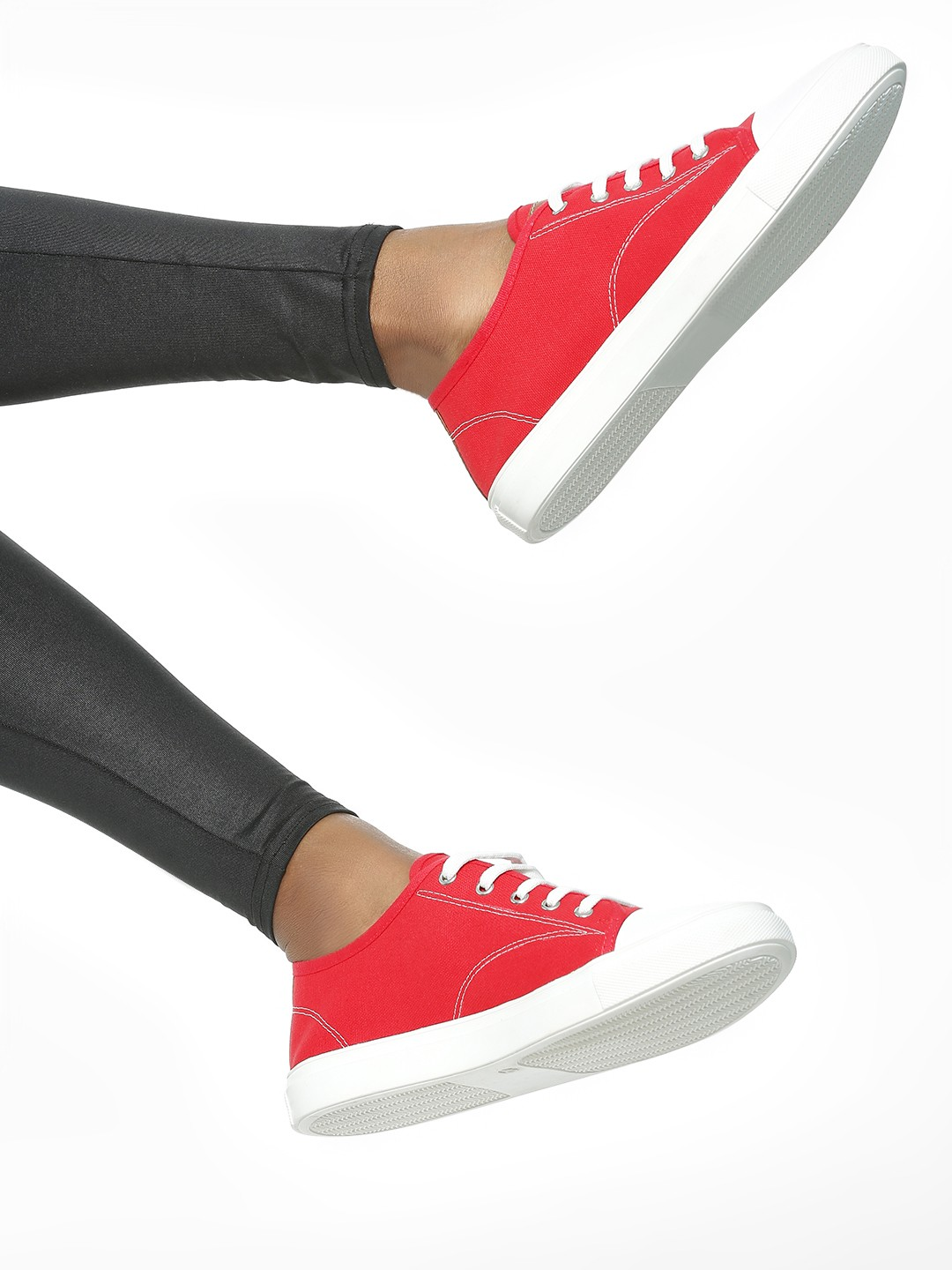 ADORLY Red Rubber Toe Canvas Sneakers 1