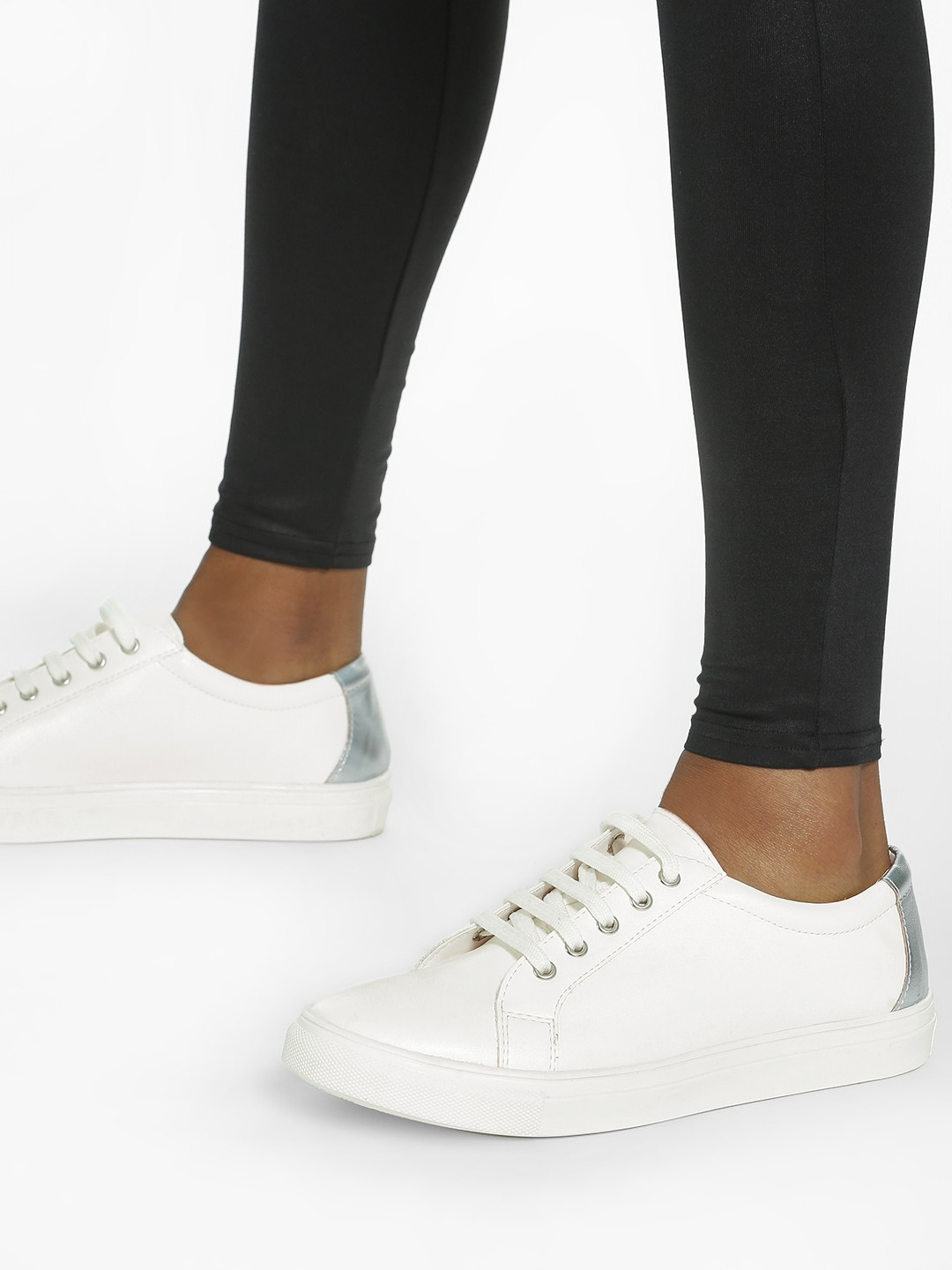 ADORLY White Metallic Tab Lace-Up Sneakers 1