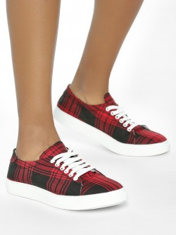 ADORLY Plaid Check Sneakers