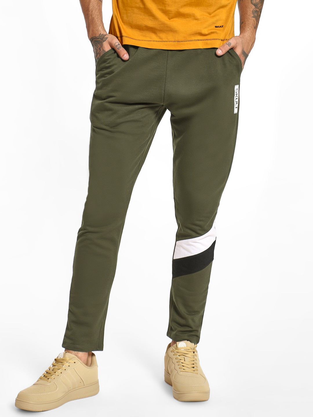 SKULT By Shahid Kapoor Dark Olive  Cut & Sew Contrast Panel Joggers 1