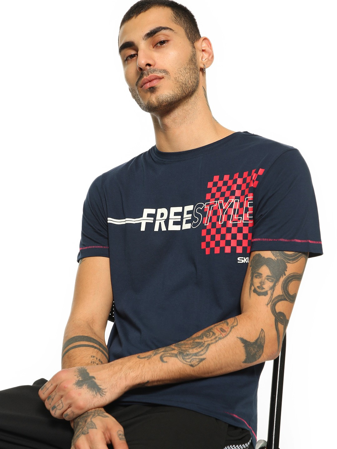 SKULT By Shahid Kapoor Navy Checkerboard Freestyle Print T-Shirt 1