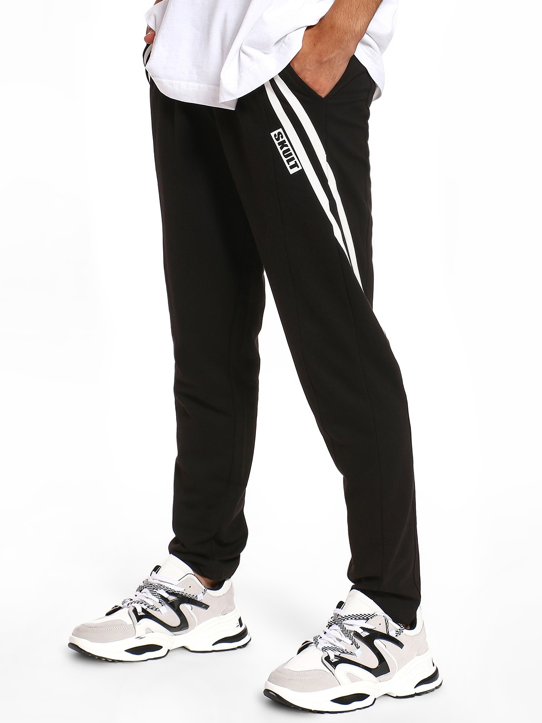 SKULT By Shahid Kapoor Black Twin Side Stripe Panelled Joggers 1