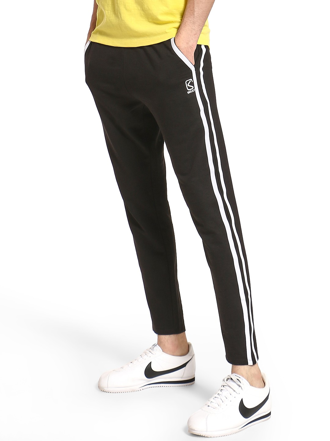 SKULT By Shahid Kapoor Black Twin Side Tape Joggers 1