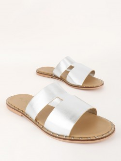 ILLIMITE H-Shaped Metallic Strap Flat Sandals