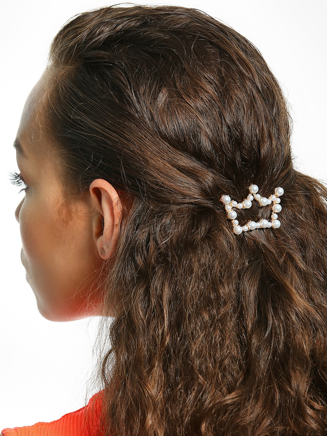 Blueberry White Pearl Embellished Crown Hair Clip 1
