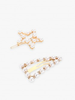 Blueberry Star & Triangle Pearl Embellished Hair Pins (Set Of 2)