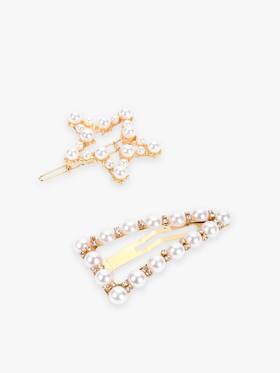 Blueberry Multi Star & Triangle Pearl Embellished Hair Pins (Set Of 2) 1