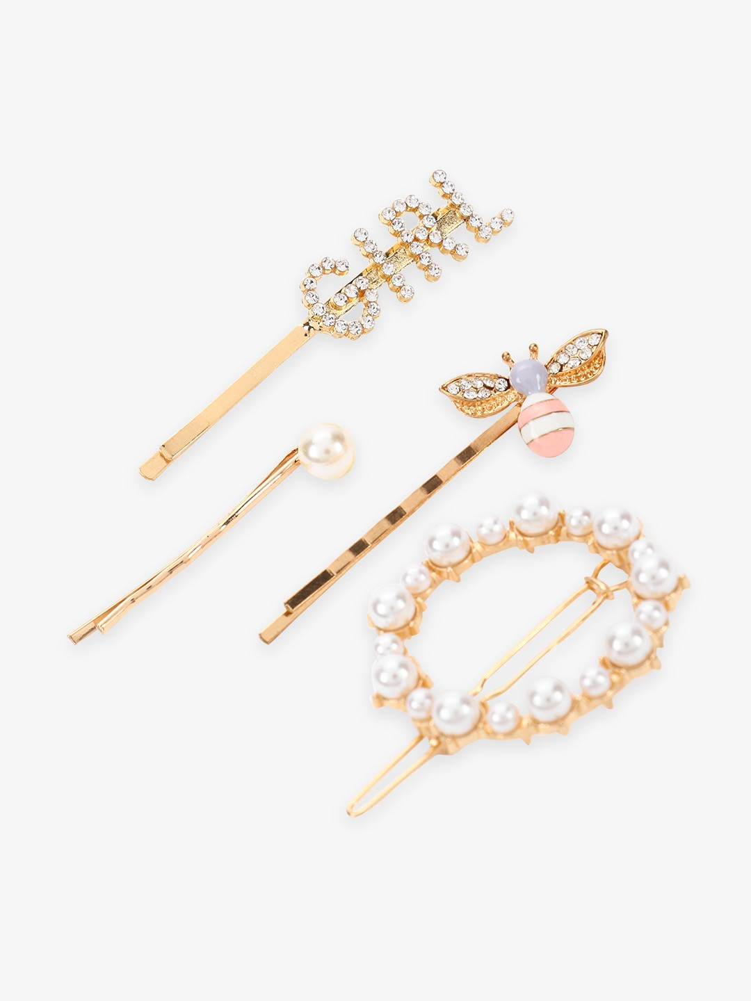 Blueberry Multi Pearl Embellished Hair Clips (Set Of 4) 1