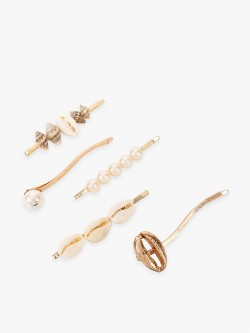 Blueberry Shell & Pearl Embellished Hair Pins (Set Of 5)