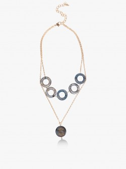 Blueberry Concentric Marble Layered Necklace