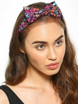 Blueberry Floral Print Bow Headband