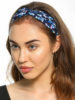 Blueberry Floral Print Twisted Headband