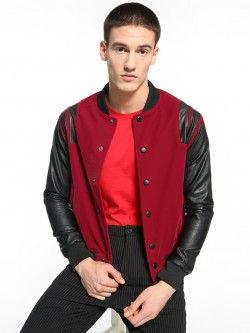 KOOVS Velour Contrast Panel Bomber Jacket