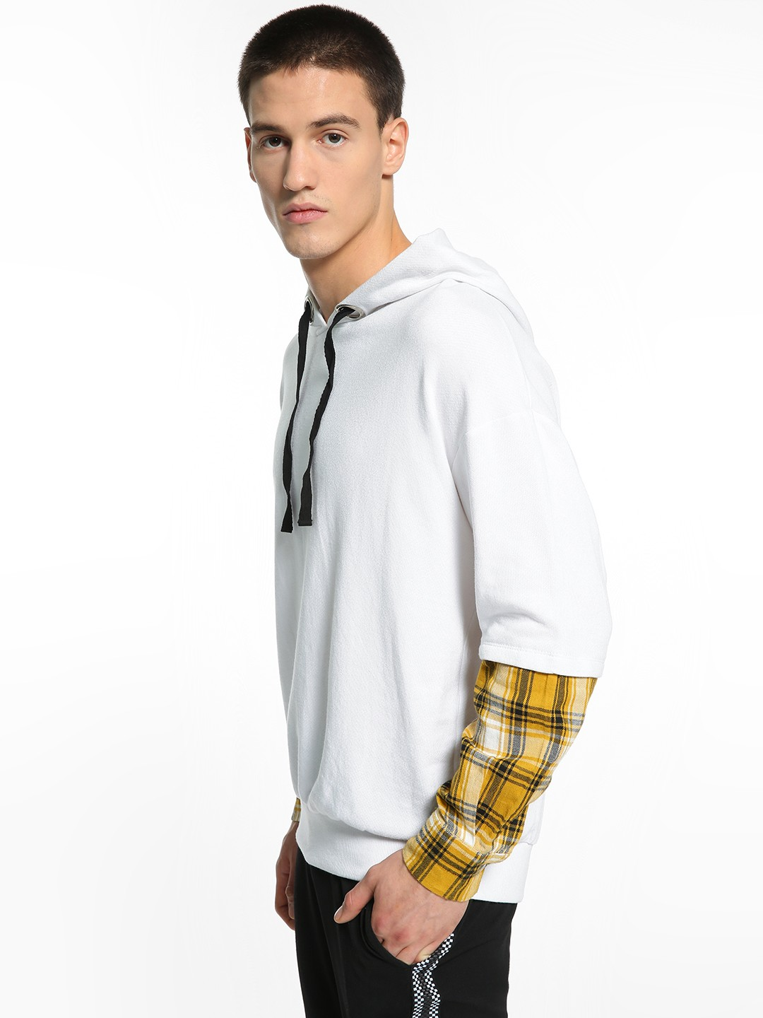 KOOVS White Layered Check Sleeve Oversized Hoodie 1