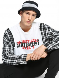 KOOVS Text Print Checkered Panel Sweatshirt