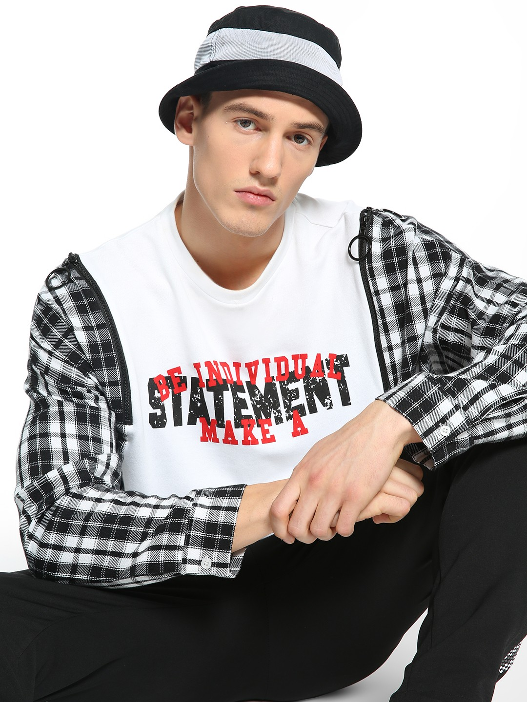 KOOVS Multi Text Print Checkered Panel Sweatshirt 1