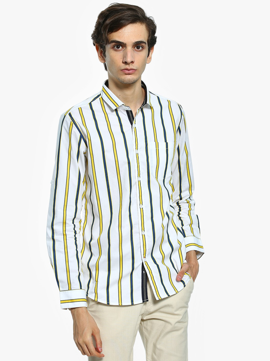 Vulcan White Vertical Stripe Long Sleeve Shirt 1