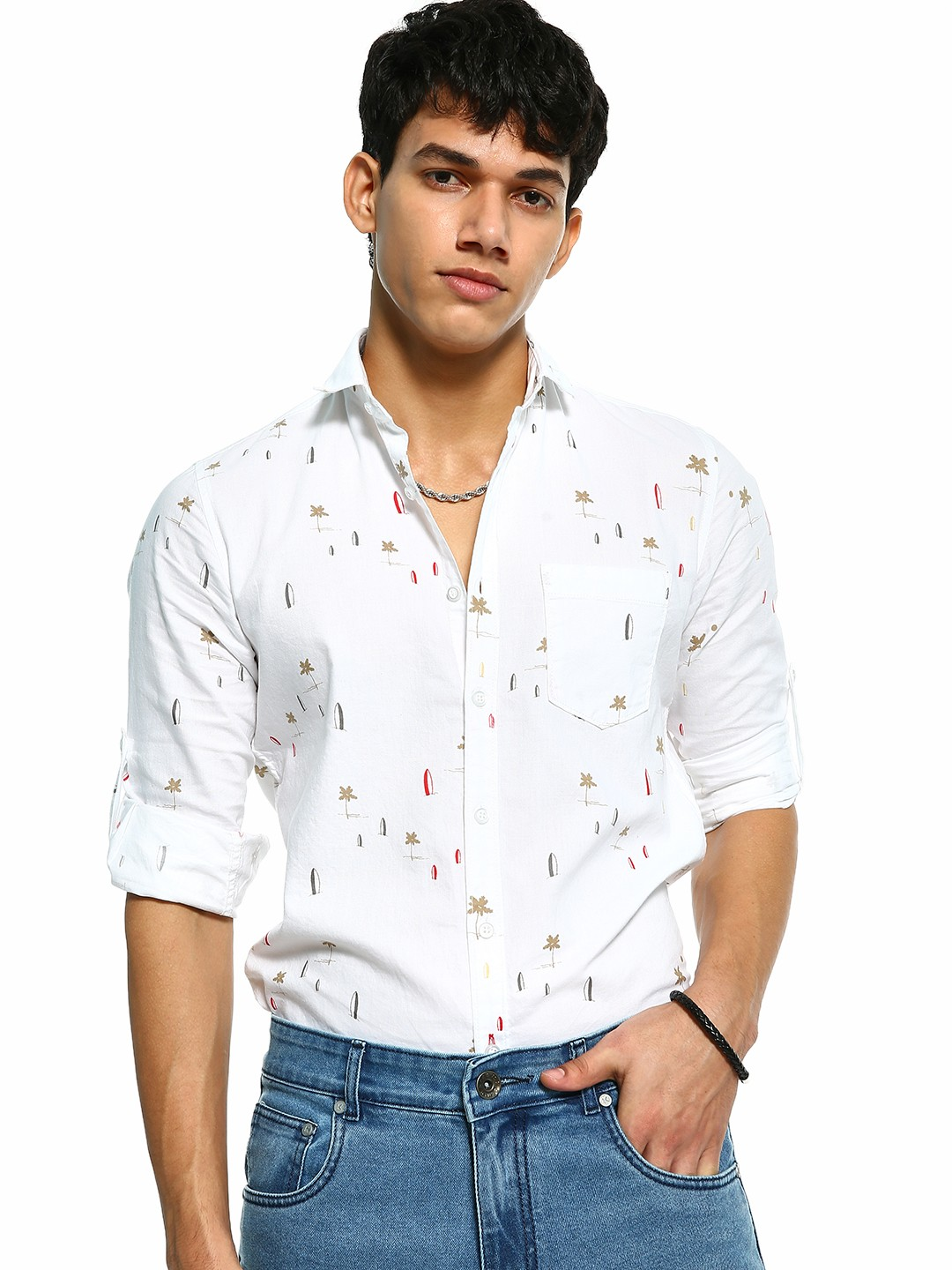 Vulcan White Beach Print Long Sleeve Shirt 1