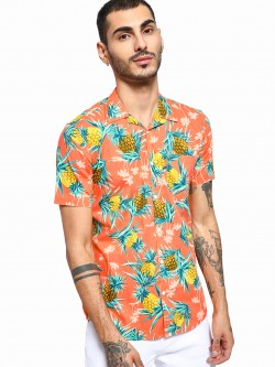 AMON Tropical Pineapple Print Cuban Shirt