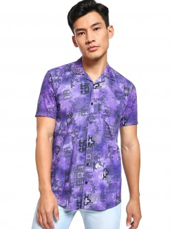 AMON Tie & Dye Mix Print Cuban Collar Shirt