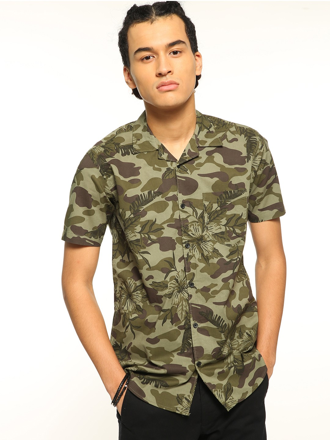 AMON Multi Camouflage Floral Print Cuban Shirt 1
