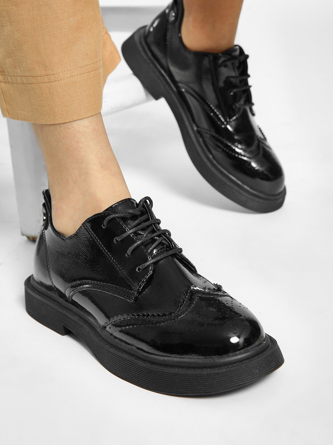 My Foot Couture Black Brogue Punched Formal Shoes 1