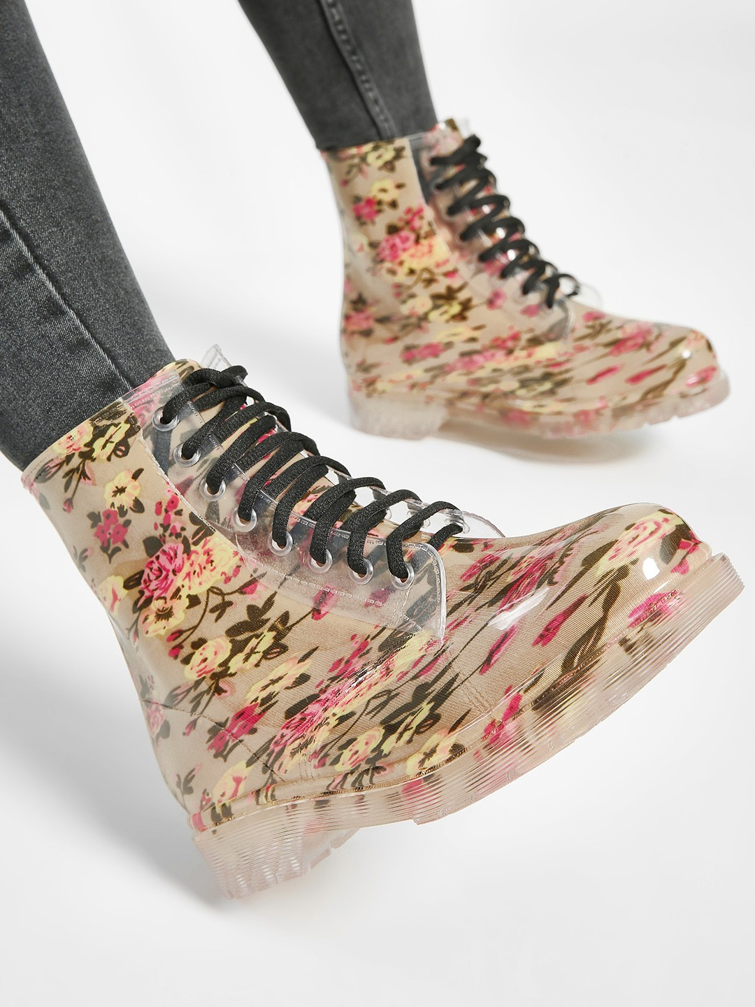Sole Story Yellow Floral Print Perspex Boots 1