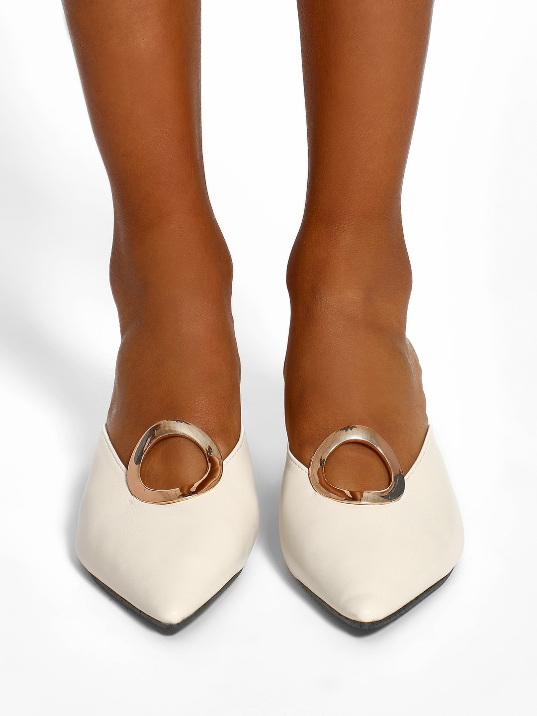 Sole Story Beige Metal Detail Heeled Mules 1