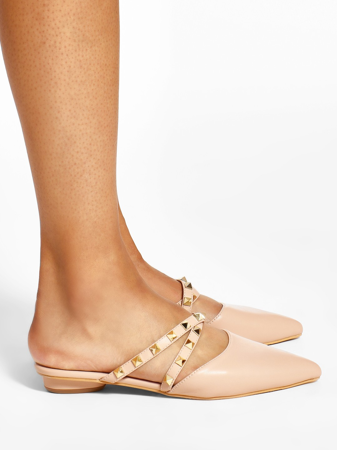 Sole Story Pink Studded Strap Heeled Mules 1