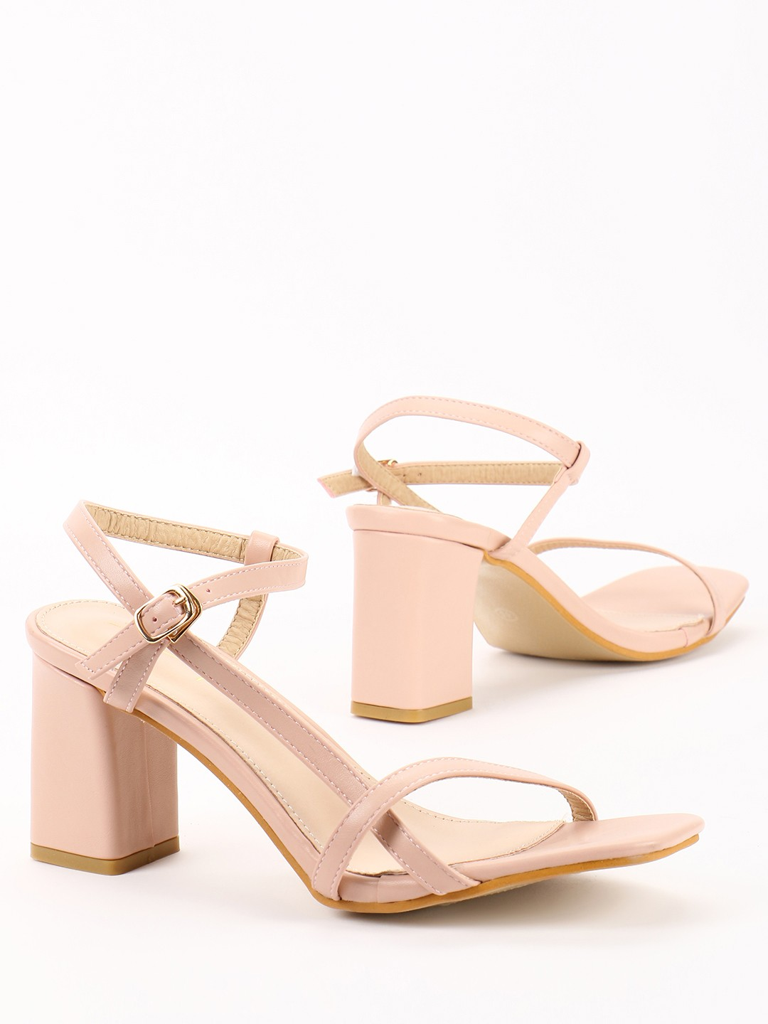 Sole Story Pink Asymmetric Strappy Heeled Sandals 1
