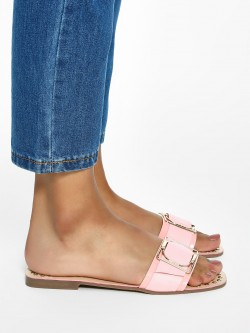 My Foot Couture Buckle Strap Studded Flat Sandals
