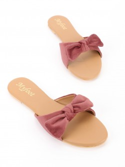 My Foot Couture Velour Bow Tie Flat Sandals