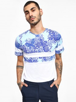 Rigo Printed Panel Crew Neck T-Shirt