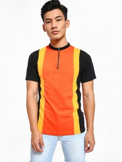 Rigo Cut & Sew Vertical Panelled Zip-Up T-Shirt