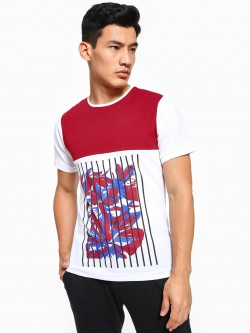 Rigo Floral Placement Print Panelled T-Shirt