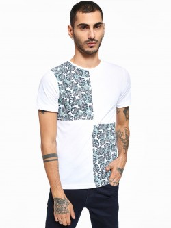 Rigo Tropical Palm Print Panelled T-Shirt