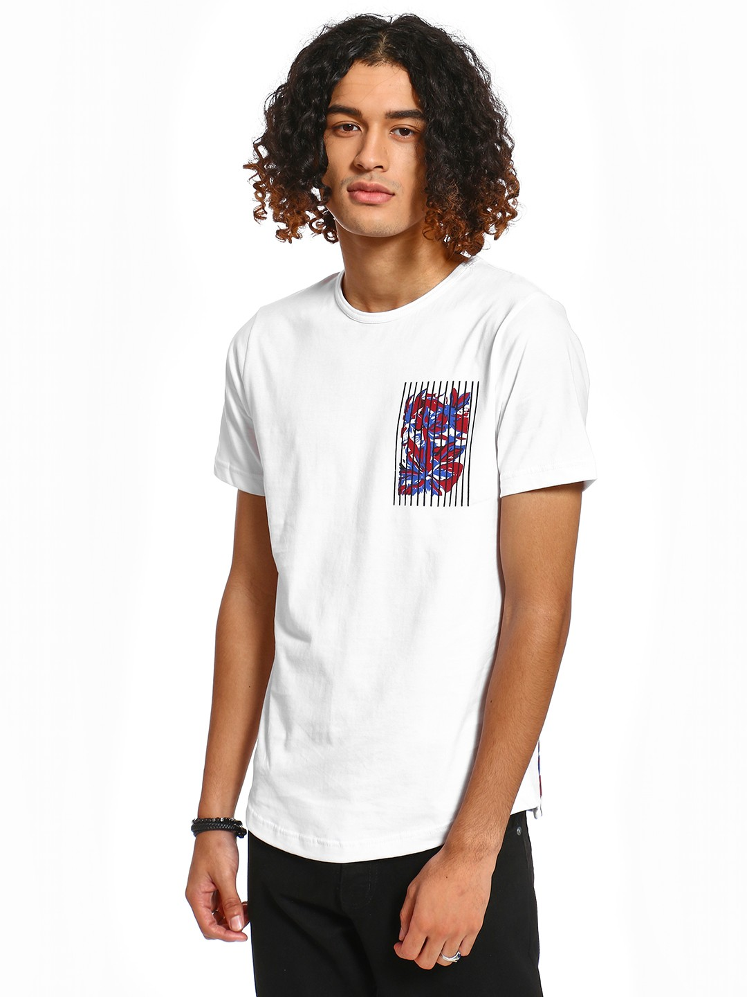 Rigo White Placement Print Patch Pocket T-Shirt 1