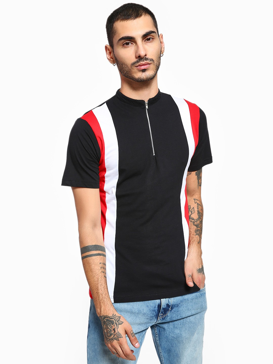 Rigo Black Cut & Sew Colour Block T-Shirt 1