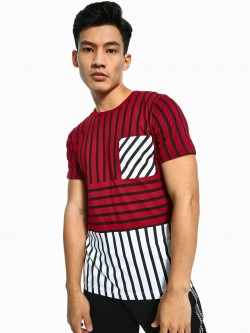 Rigo Cut & Sew Stripe Patch T-Shirt