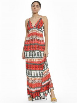 Kisscoast Paisley Print Smocked Maxi Dress
