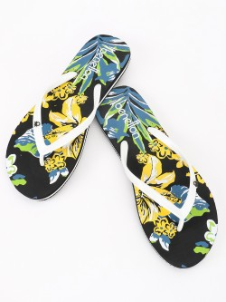 United Colors of Benetton Tropical Print Logo Flip Flops